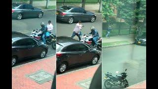 Video: a fleteros se les apaga la moto e intentan escapar a pie y echando bala tras robo en Bogotá
