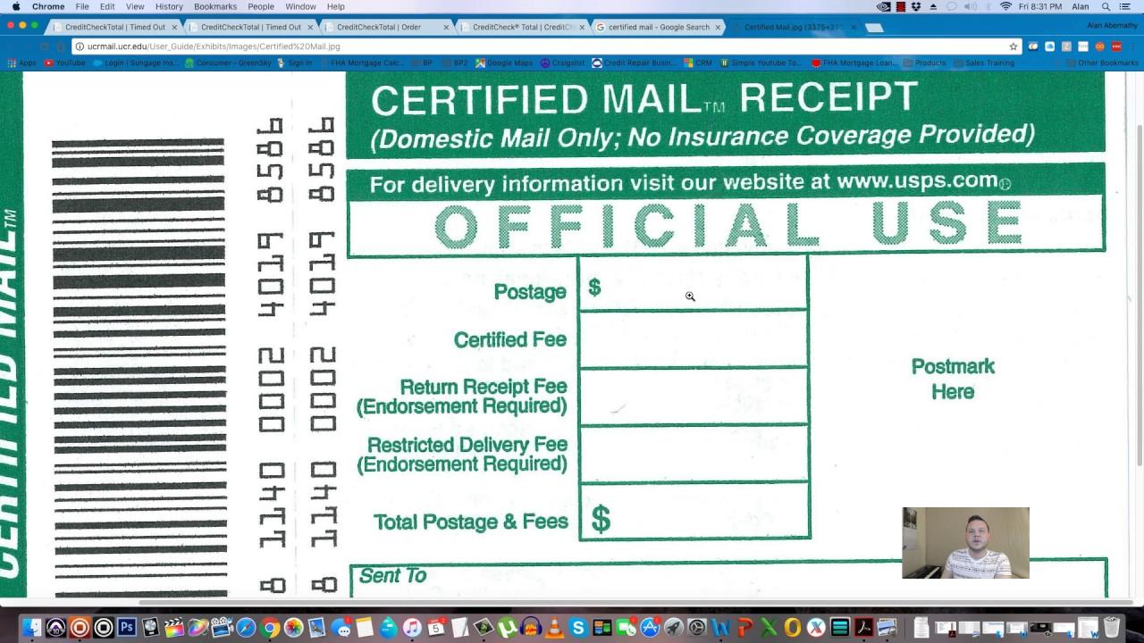 full credit repair tutorial part 7 of 10 mailing certified letter process