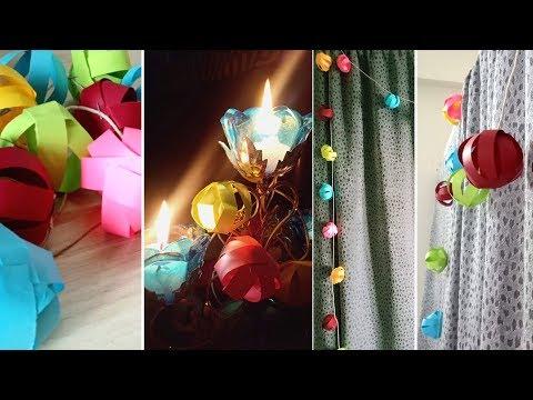 Diwali Decoration Ideas | DIY Paper balls wall hanging | diwali light decoration