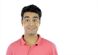 Closeup shot of an Indian guy with surprise or wow expressions - emotions concept