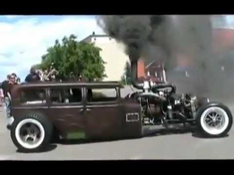 welderup Turbo Diesel Rat Rod Burnout   YouTube