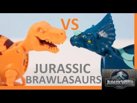 JURASSIC WORLD Brawlasaurs T-Rex Tyrannosaurus VS. Triceratops Dinosaur Battle Kids Videos