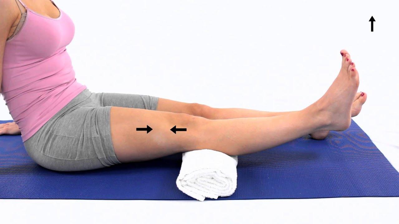 VMO Inner range quadriceps sitting - YouTube
