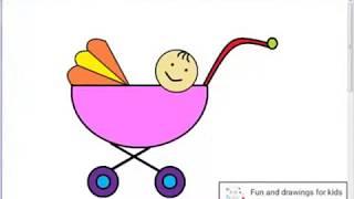 Hur man ritar en barnvagn för barn / sång