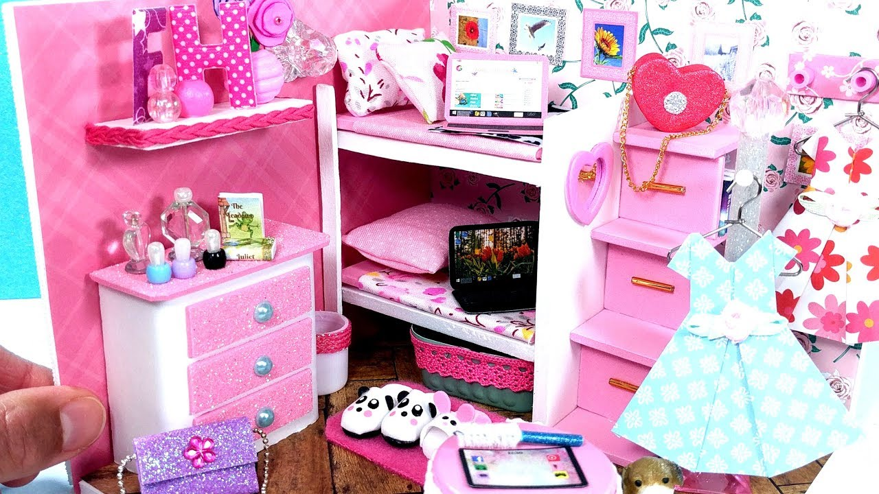 Diy Miniature Dollhouse Bedroom With A Bunk Bed Youtube