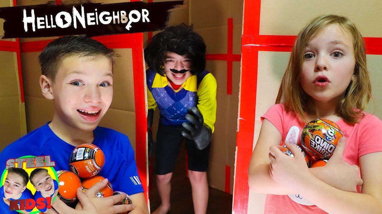 Hello Neighbor In Real Life Hide & Seek!  Rare Dino Strike! Steel Kids