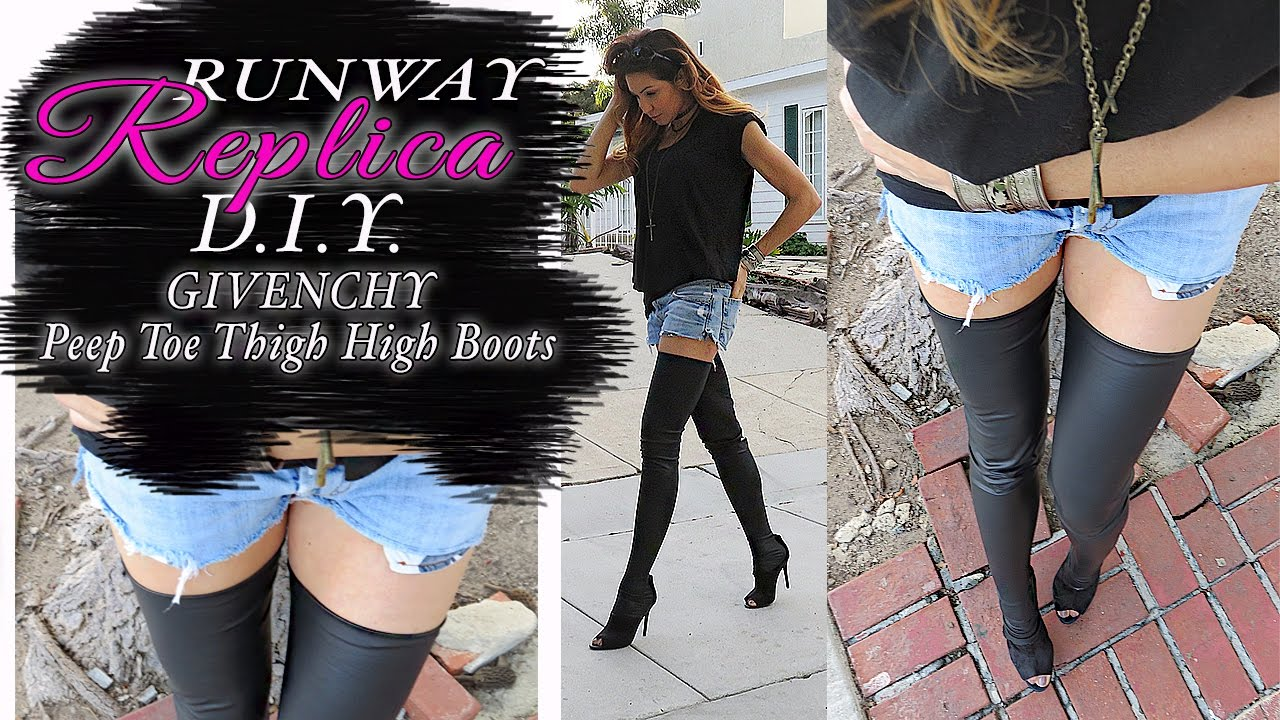 DIY CHANEL- GIVENCHY Runway Peep Toe Thigh High Boots - YouTube