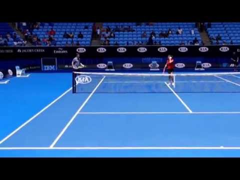 Australian Open 2015 Practice - Andy Murray and Dominic Thiem with Amélie Simone Mauresmo