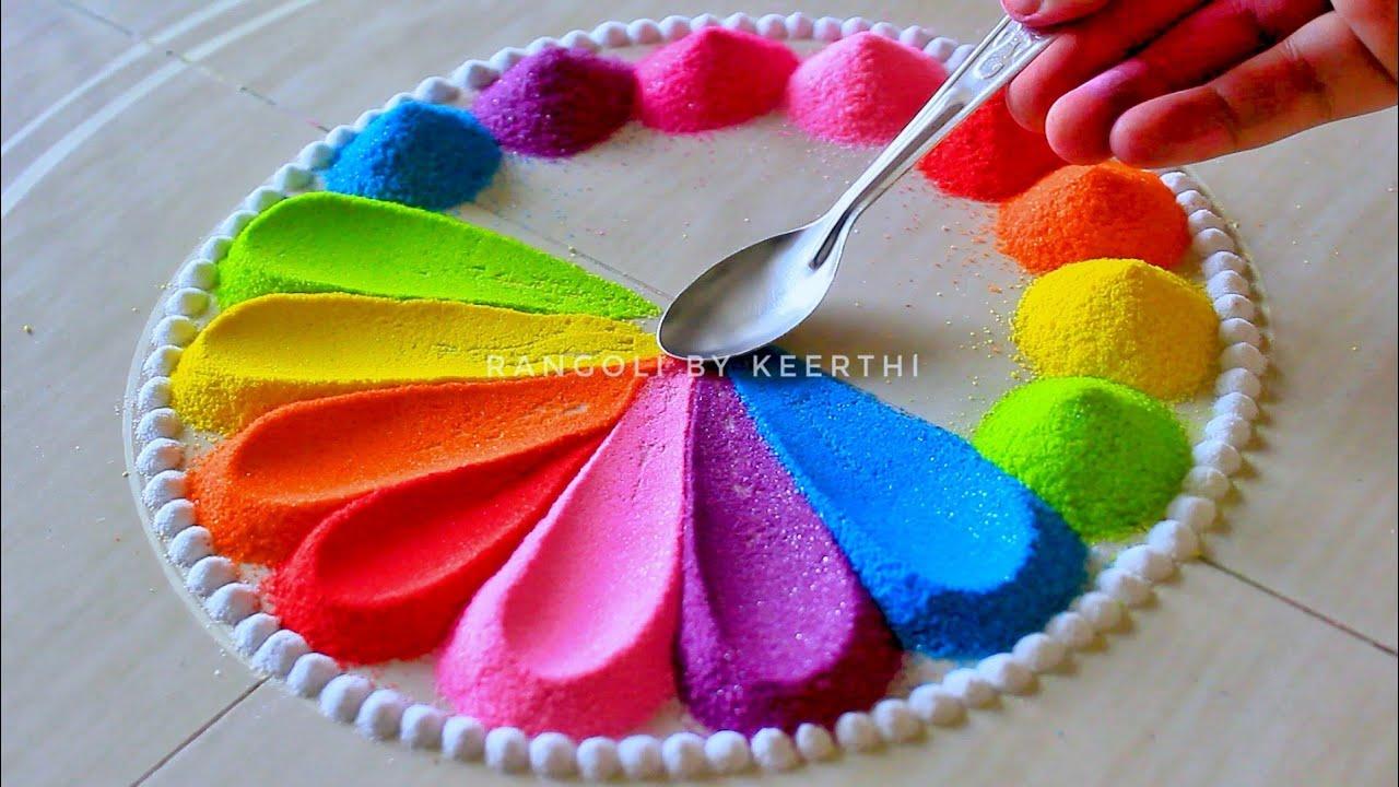 Simple rangoli design spoon l unique rangoli designs l easy rangoli designs with colours रंगोली