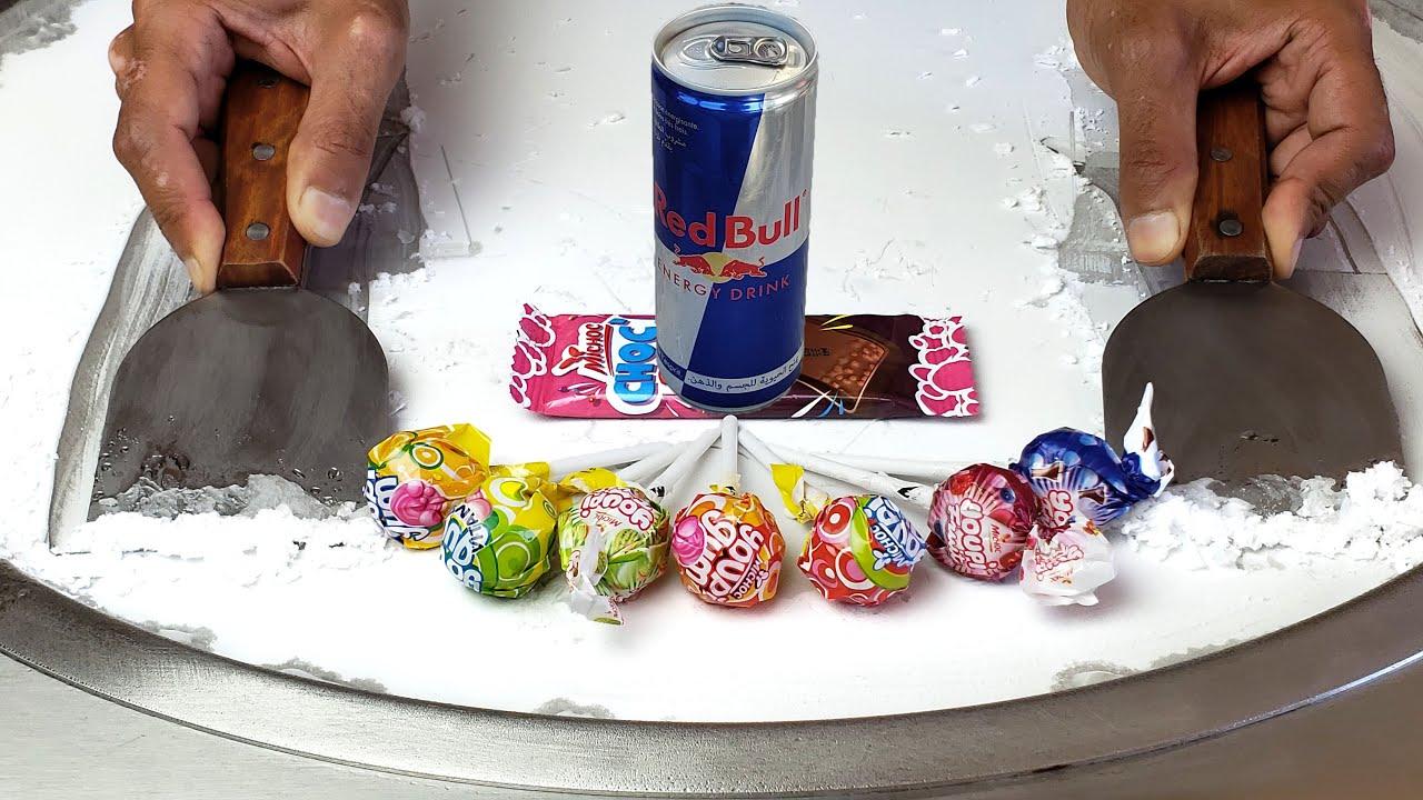 Red Bull & lollipops Ice Cream Rolls ASMR Street Food Sounds