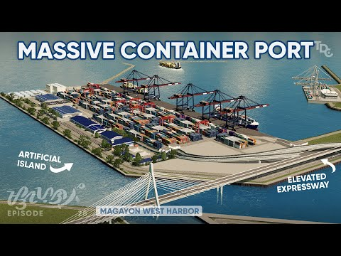 Building a MASSIVE CONTAINER PORT/Cargo Harbor in Cities: Skylines Magayon EP28 - Shipping Industry