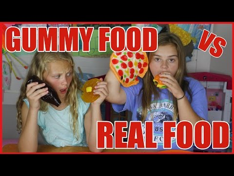 GUMMY FOOD vs REAL Food Challenge | Savannah & Hannah Show