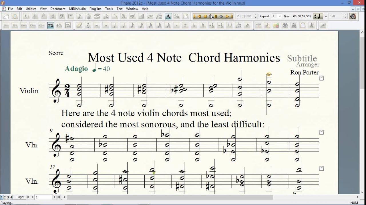 Most Used 15 Note Violin Chord Harmonies