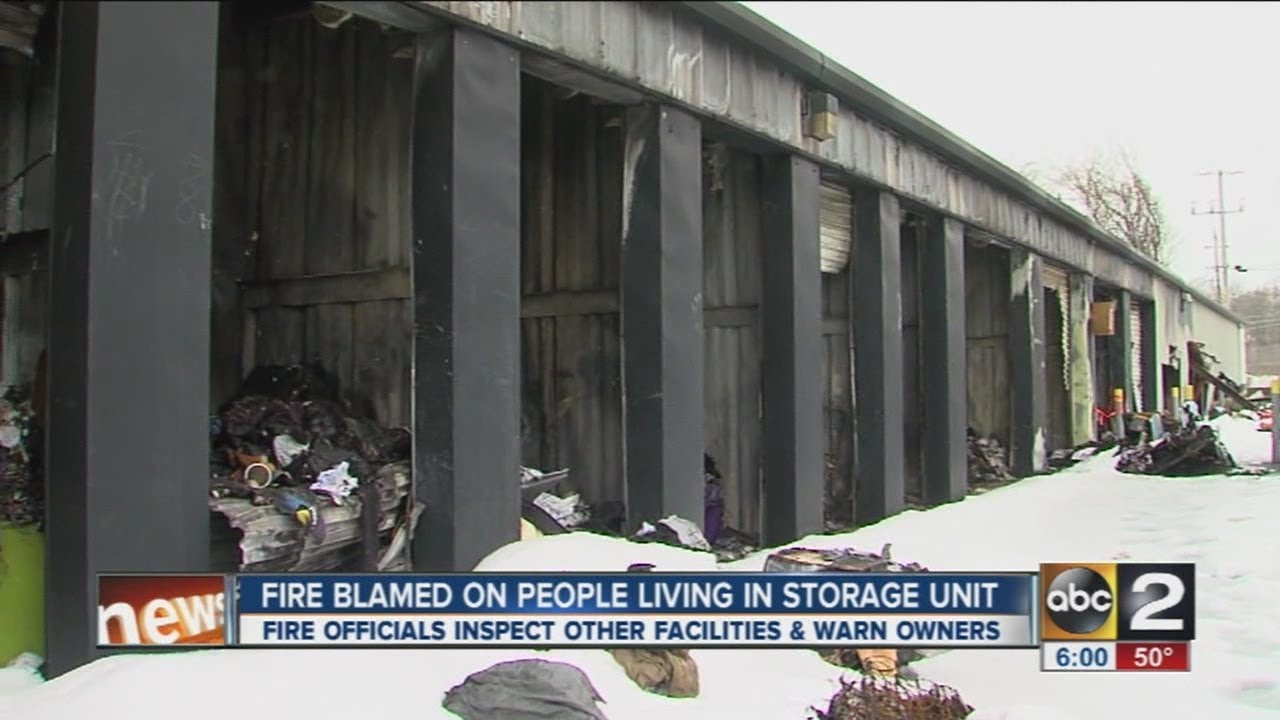 people living in storage unit accidentally spark fire