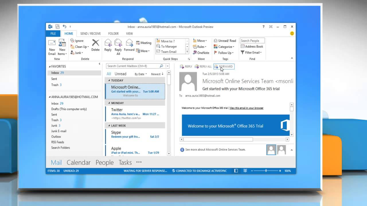 How to setup an email account in outlook