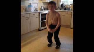 mac silly dancing followed by a head bang on the cupboard