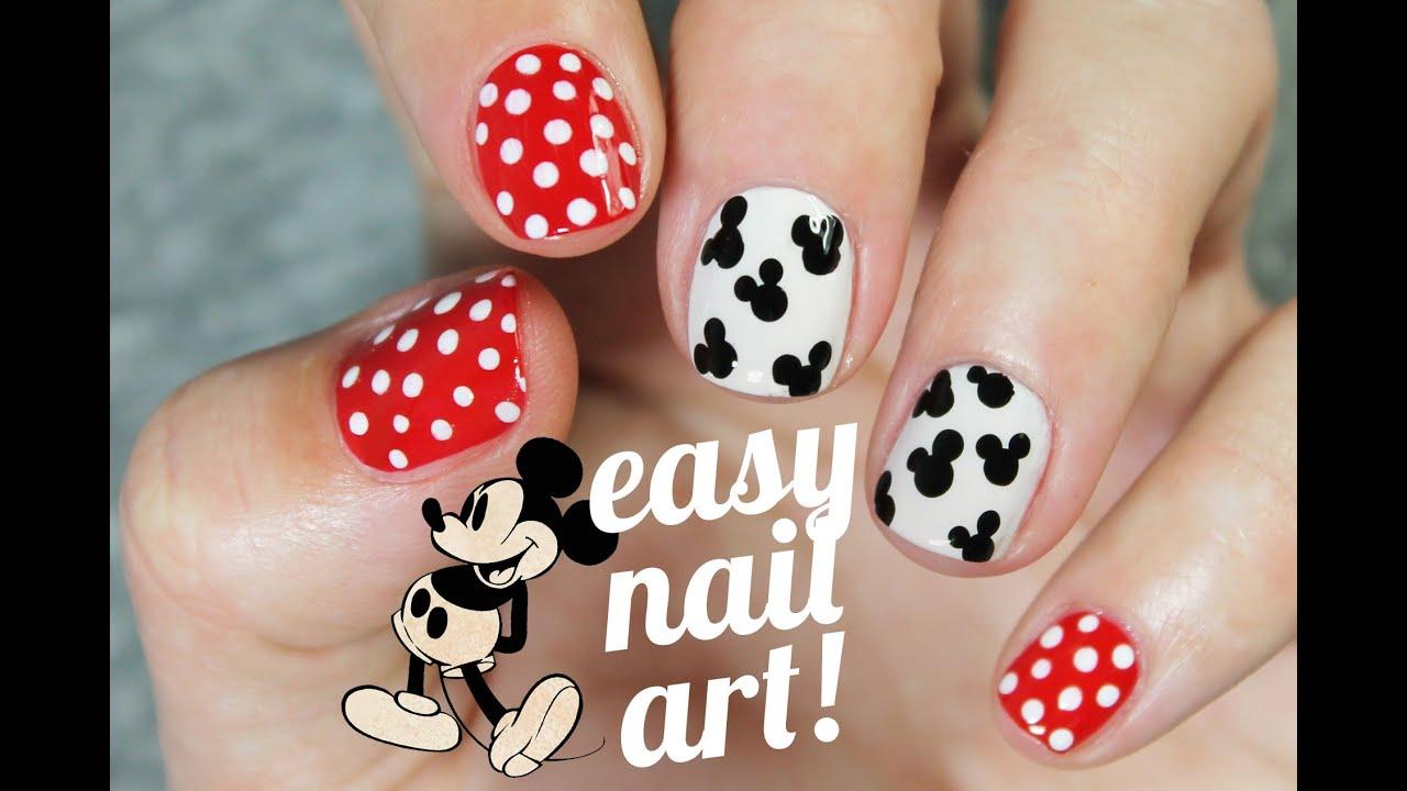 Diseño De Uñas Super Fácil Y Rápido De Mickey Mouse Youtube