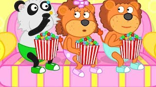 Lion Family 🦁 Popcorn turns into Porridge 👪 Cartoon for Kids