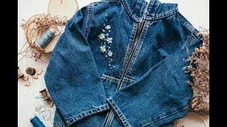 Вышивка на джинсовке / Embroidery with ribbons on jeans