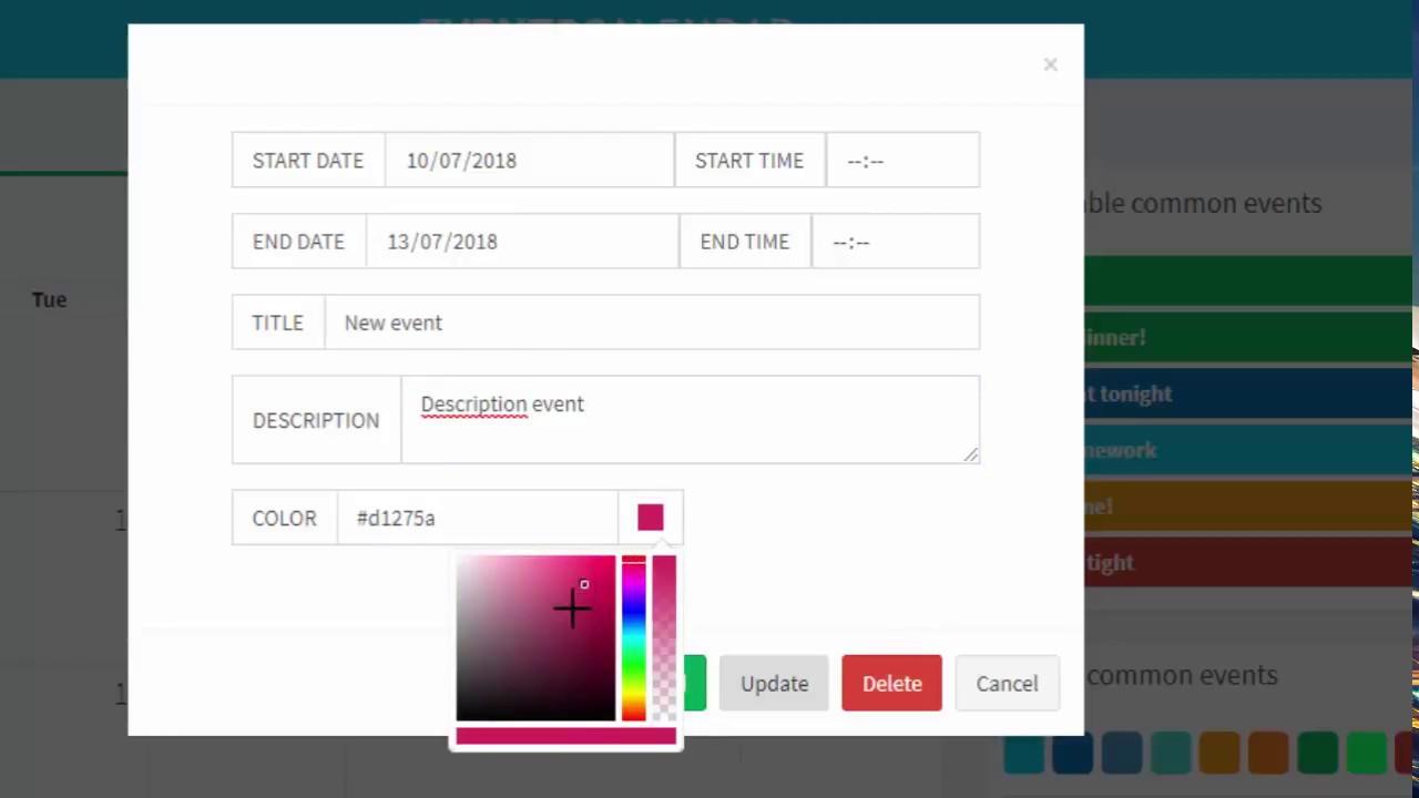 Actualizar Calendario.Calendario De Eventos Php Mysql Agregar Eliminar Actualizar Mover Seleccionar Eventos