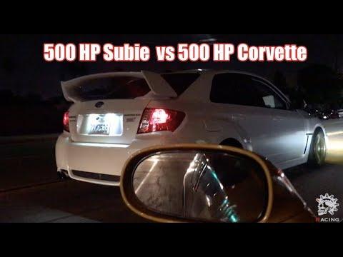 ROLL RACING 500HP Subaru STI Vs 500HP C6 Corvette