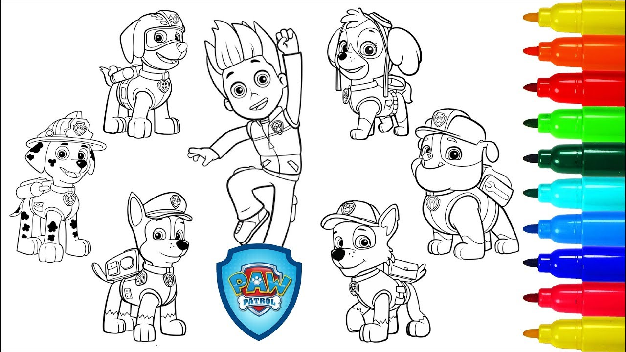 Paw Patrol Coloring Book Chase Marshall Rocky Skye Rubble Zuma