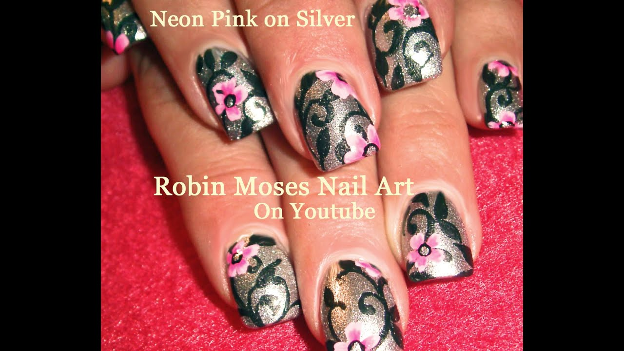 Neon Pink Flower Nails | Silver Filigree Nail Art Design Tutorial ...