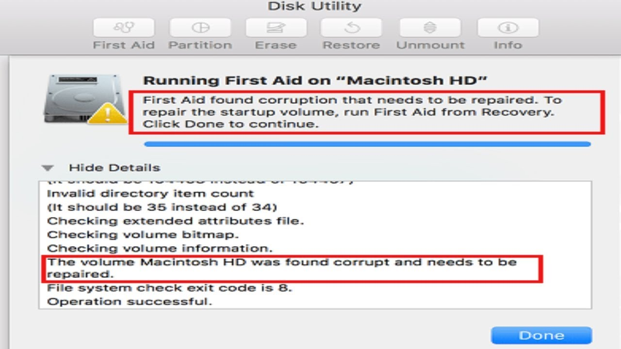 FIX Mac Disk Utility Error First Aid found corruption that needs to be  repaired