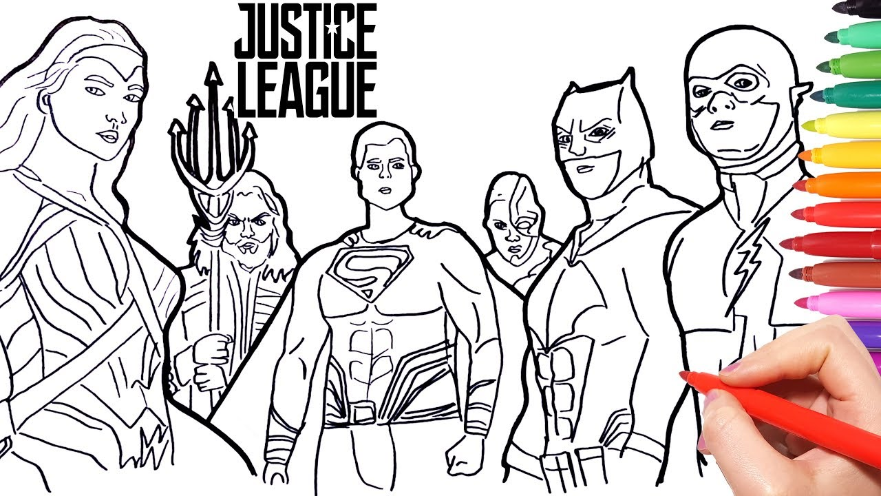 Justice League Coloring pages | how to draw batman superman wonder ...