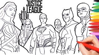 Justice League Coloring pages | how to draw batman superman wonder woman flash aquaman superheroes