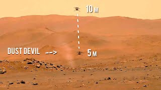 FULL Ingenuity Helicopter's 5th flight on Mars with Dust Devil behind (video by Perseverance)