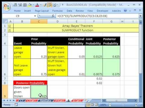 Excel Statistics 55 5: Bayes Theorem Posterior Probabilities