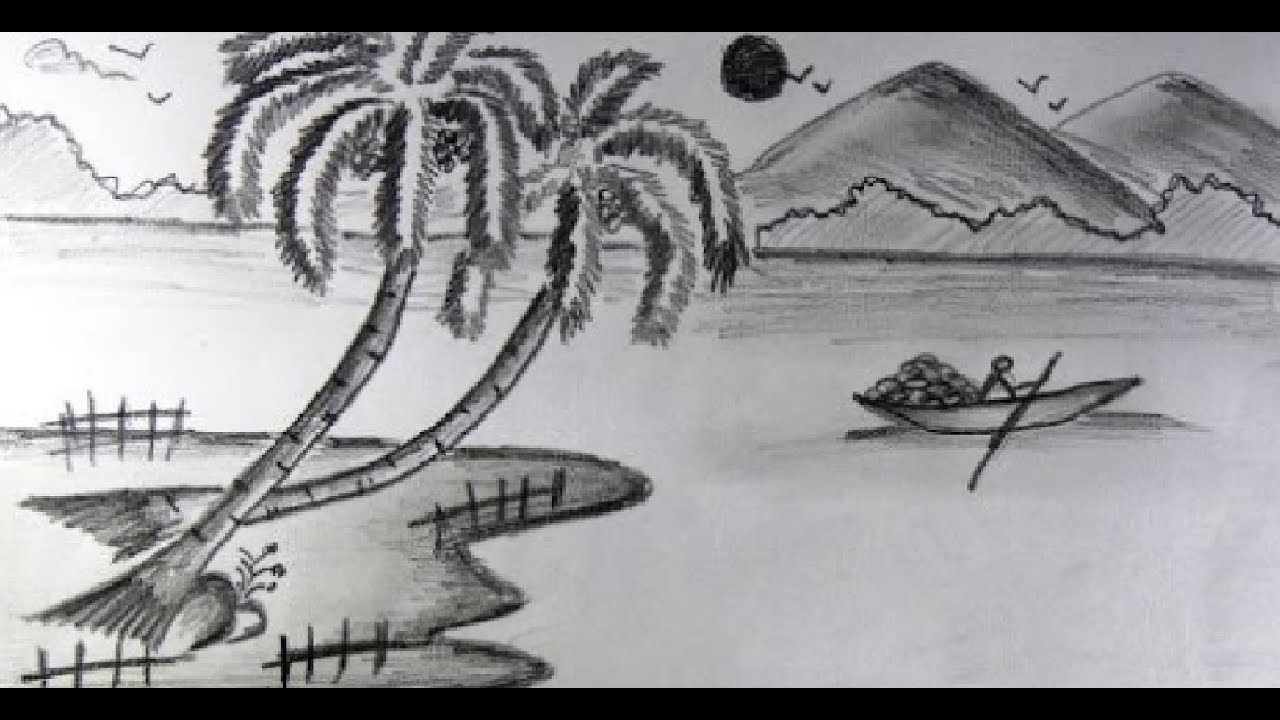 How to draw nature landscape scenery pencil drawing for kids step by