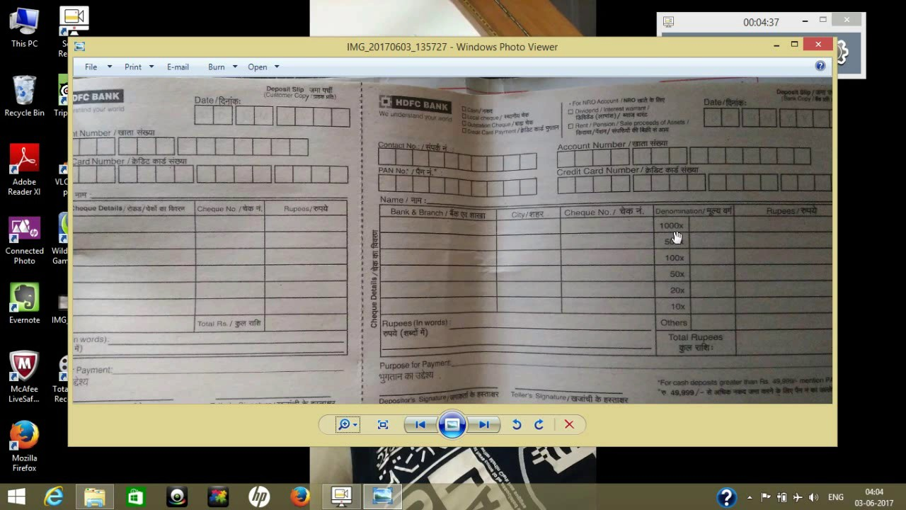 cash deposit form hdfc  CASH DEPOSIT   how to fill deposit slip in hindi   hdfc bank deposit slip