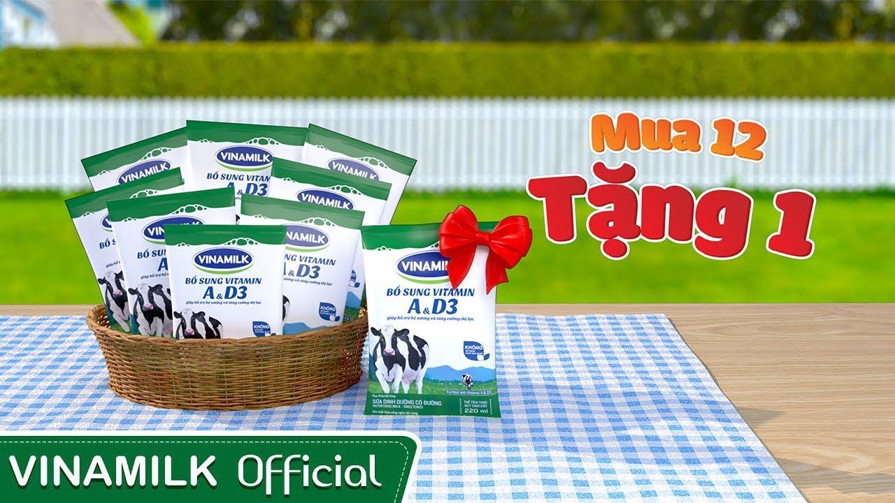 Quảng cáo Vinamilk – Tặng ngay 1 bịch khi mua 12 bịch sữa tiệt trùng Vinamilk!