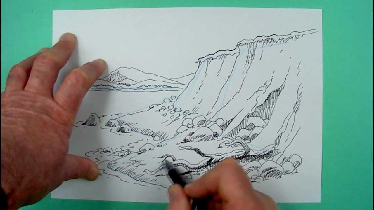Wie Zeichnet Man Eine Küstenlandschaft Zeichnen Für Kinder Und