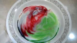นม +  สีผสมอาหาร + นำ้ยาล้างจาน