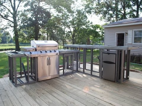 Outdoor Kitchen Plans | Outdoor Fireplace and Kitchen Plans - YouTube
