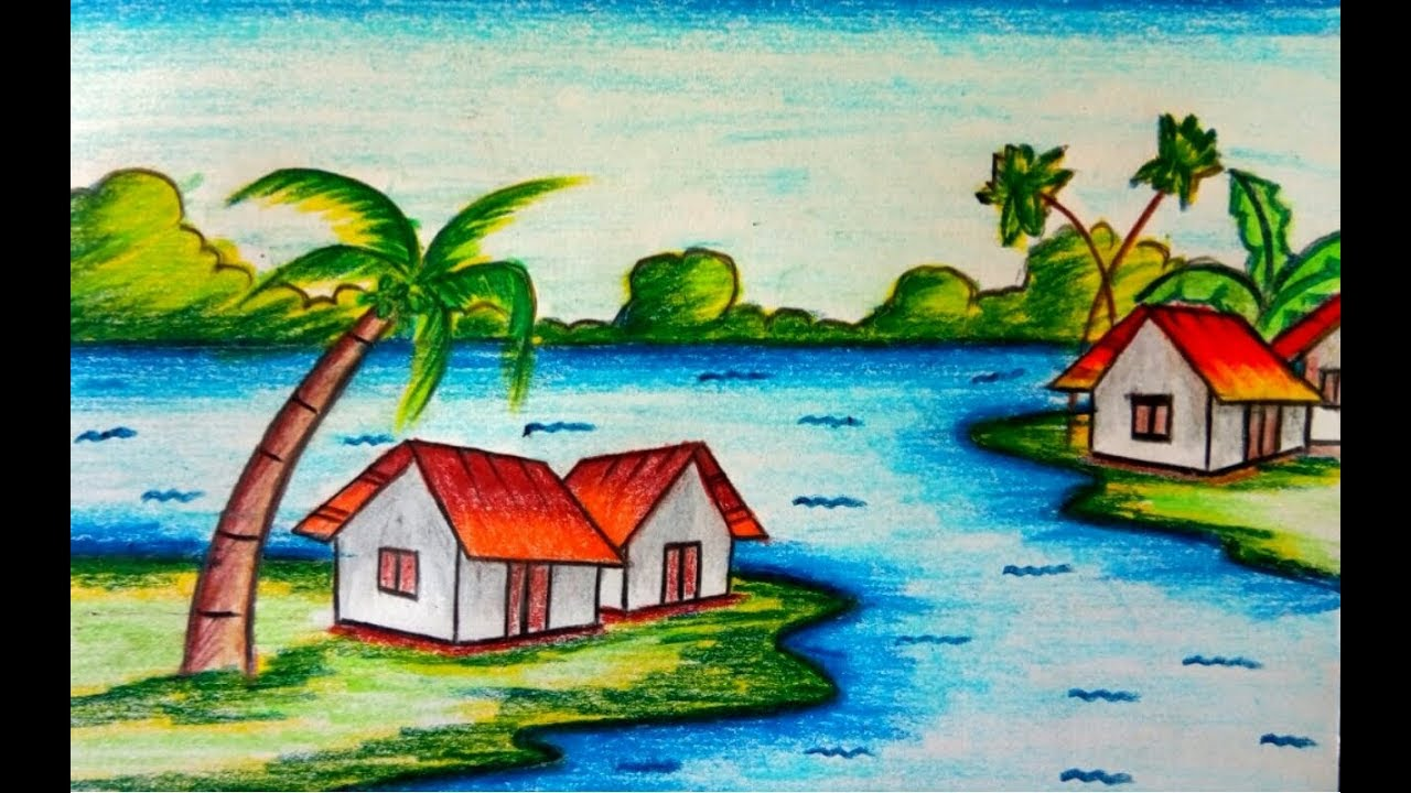 How to draw village scenery with oil pastel step by step ...