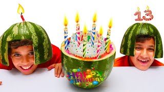 happy birthday Adel, cake watermelon