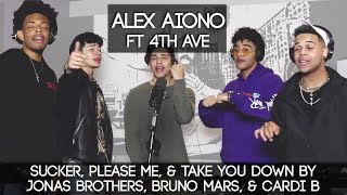 Sucker, Please Me, & Take You Down by Jonas Brothers, Bruno Mars, & Cardi B | Alex Aiono ft 4th AVE MP3