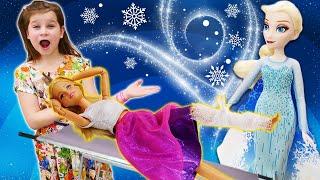 Видео онлайн - Кукла Барби и Эльза Холодное Сердце заболели! – Принцессы Дисней в играх для девочек