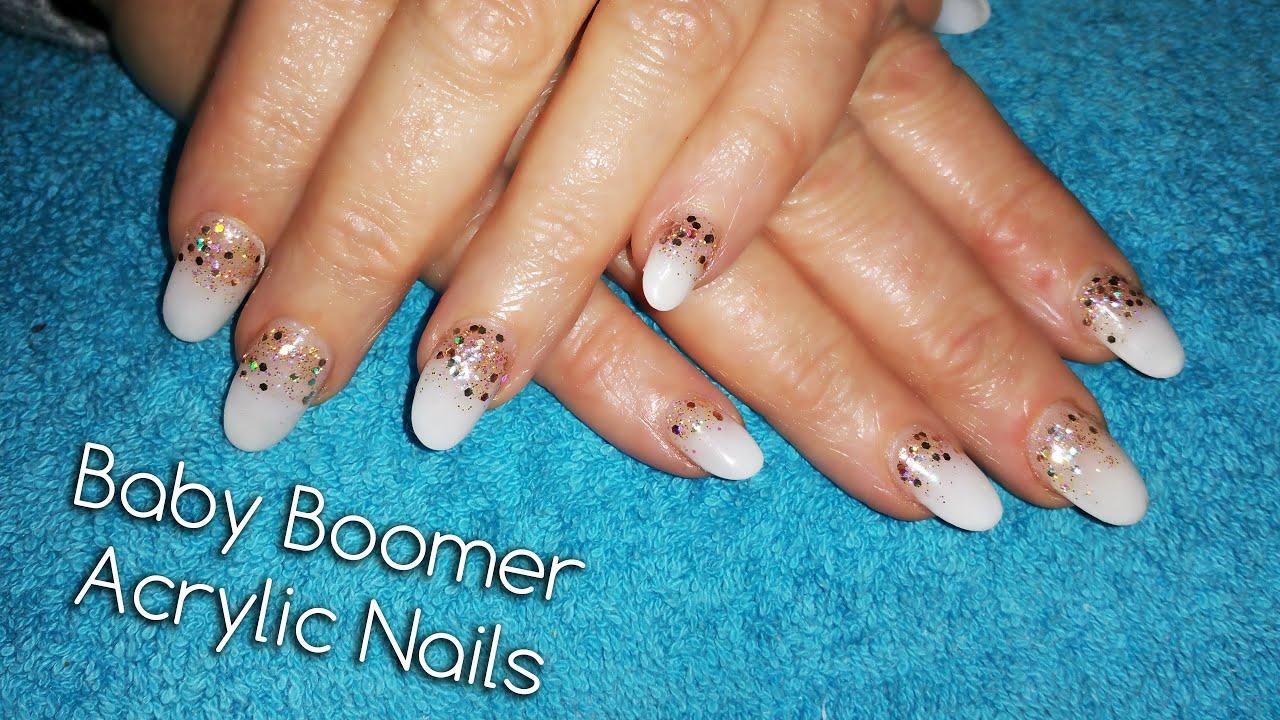 Baby Boomer Acrylic Nail With Glitter - YouTube