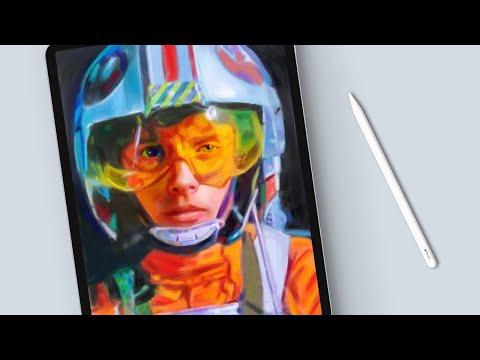 Painting Star Wars Fan Art In Procreate (Luke Skywalker Portrait)