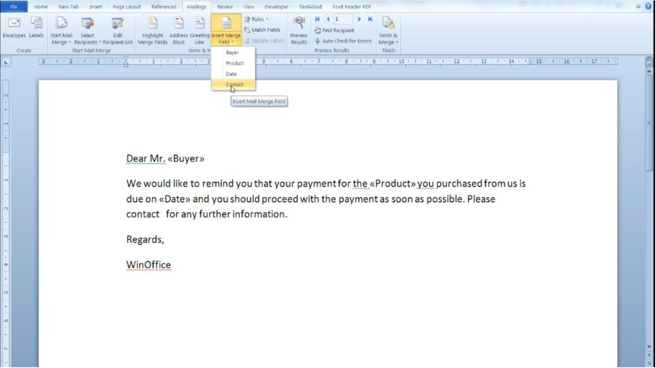 use mail merge in word 2010 to create documents automatically using