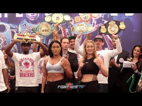 CECILIA BRAEKHUS & ALEKSANDRA LOPES FACE OFF AFTER WEIGH IN IN FINAL HBO BOXING SHOW