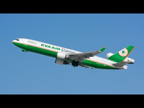 EVA Air Cargo McDonnell Douglas MD-11/F [B-16113] Departing LAX.