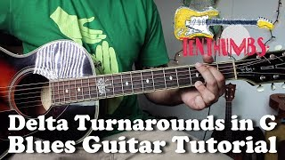 3 Delta Blues Turnarounds in G with Tabs - Acoustic Blues Guitar Tutorial