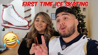 GIRLFRIEND'S FIRST TIME ICE SKATING ( HILARIOUS )