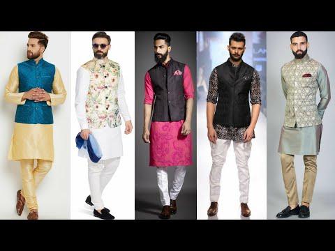 Latest Men's Kurta Pajama With Nehru Jacket Design Ideas 2019